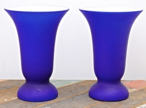 Pair of Cobalt Blue Glass Table Lamps with White Interior