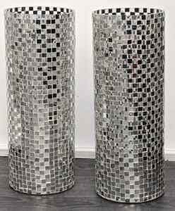 Parlane Pair of Mosaic Mirrored Glass Vases
