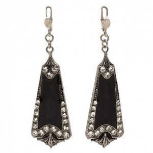 Pierre Bex Art Deco Style Black Enamel Rhinestone Earrings