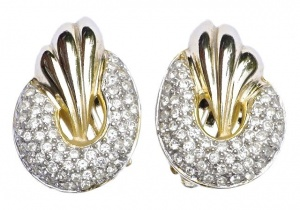 Piscitelli Gold Tone and Diamante Clip On Earrings circa 1980s