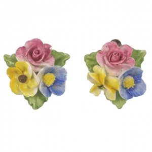 Vintage Porcelain Hand Painted Flower Clip On Earrings