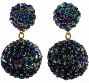 1980s Gold Tone Peacock Sequin and Bead Ball Clip On Earrings