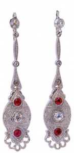 Silver Tone Clear Red Diamante Drop Earrings, circa 1940s
