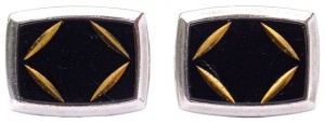 1970s Silver Tone Black and Gold Diamond Cut Cufflinks