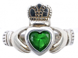 Vintage Sterling Silver Claddagh Ring with a Green Glass Heart