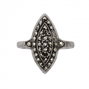Art Deco Silver and Marcasite Marquise Design Ring circa 1930s