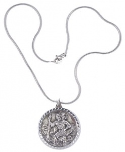 1970s Sterling Silver Diamond Cut St. Christopher Pendant Necklace