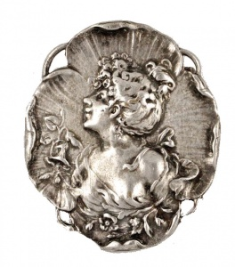Silver Tone Art Nouveau Style Lady Brooch circa 1980s