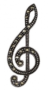Vintage Silver and Marcasite Treble Clef Music Brooch