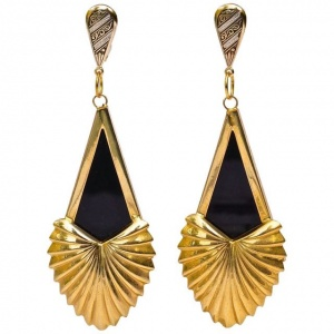 Spanish Gold Tone and Black Drop Statement Earrings