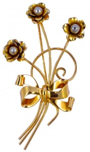 Coro Sterling Vermeil Bow and Flower Brooch, circa 1940s