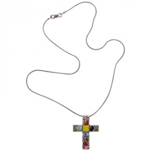 Sterling Silver Gemstone Cross and Snake Chain Necklace