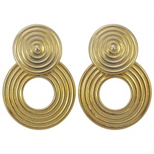 Trifari Gold Plated Drop Hoop Clip On Earrings 1960s