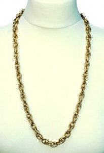 1980s Trifari Long Gold Tone Oval Link Chain Necklace