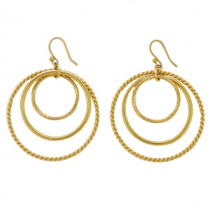 Gold Plated Triple Hoop Earrings circa 1980s