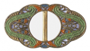 Art Deco Green Orange and Blue Filigree Buckle