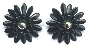 Vintage Black and Silver Glass Flower Earrings