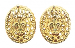 Bergere Vintage Crown and Fleur-de-Lis Gold Tone Earrings