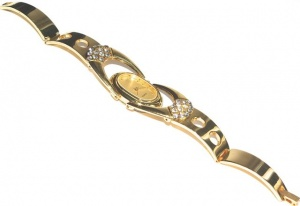 Vintage Gold Tone and Diamante Bracelet Watch