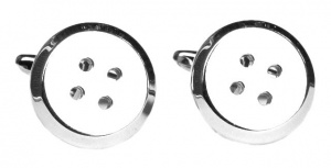 Vintage Shiny Silver Tone Button Cufflinks