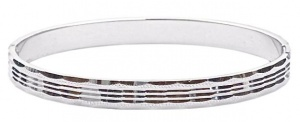 Vintage Oval Silver Tone Diamond Cut Bangle