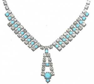 Vintage Turquoise Glass and Diamante Necklace circa 1950s