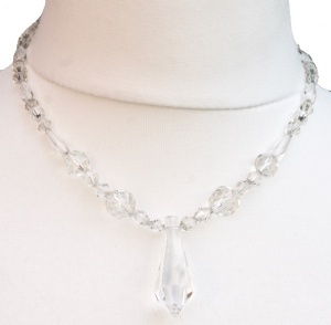 Vintage Clear Glass Bead Necklace with a Drop Pendant