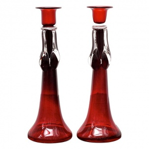 Vintage Pair of Tall Red and Clear Art Glass Candlesticks