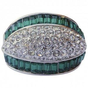 Silver Tone Green and Clear Rhinestone Cocktail Ring