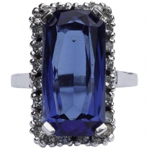 Panetta Sterling Blue Glass and Diamante Cocktail Ring
