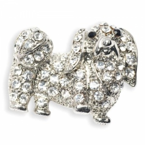 Diamante Pekingese Brooch