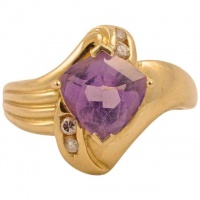 14K Gold Amethyst Diamond Dress Ring circa 1990s