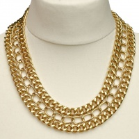 14th & Union Gold Plated Triple Link Chain Necklace