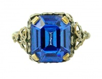 1940s Silver Plated Cornflower Blue Glass Dress Ring