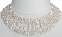 1950s White Faux Pearl Drop Collar Necklace