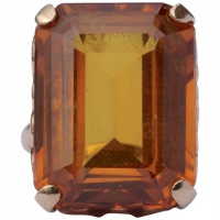 1960s 9ct Gold Emerald Cut Burnt Orange Synthetic Sapphire Ring