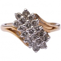 14K Gold and Pave Cluster Diamond Ring circa 1990s