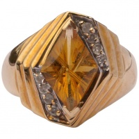 Vintage 14K Gold Citrine and Cubic Zirconia Dress Ring