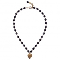 Poggi Paris Gold Plated and Black Glass Heart Necklace circa 1980s
