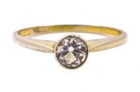 Vintage Gold Vermeil on Silver Diamante Solitaire Ring