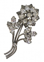 Art Deco Classic Silver Tone and Paste Flower Brooch