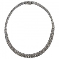 Schreiber & Hiller Art Deco DRGM Silver Tone Diamante Necklace