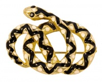 Gold Plated Black and White Enamel Coiled Snake Brooch