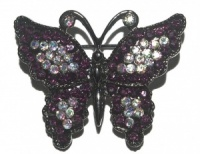 Aurora Borealis and Dark Red Glass Butterfly Brooch