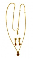 Avon Gold Tone Red Diamante Pendant Necklace Earrings Set