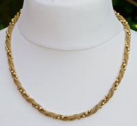 1980s Avon Gold Tone Twisted Mesh and Bead Necklace