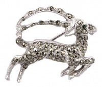 BJL Silver Tone and Marcasite Gazelle Brooch circa 1950s