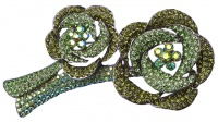 Butler & Wilson Two Tone Green and Aurora Borealis Brooch