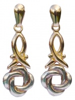 Two Tone 9ct Gold Knot Design Drop Earrings