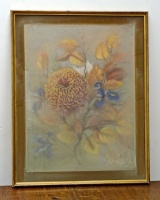 1970s Glazed French Flower Pastel Picture